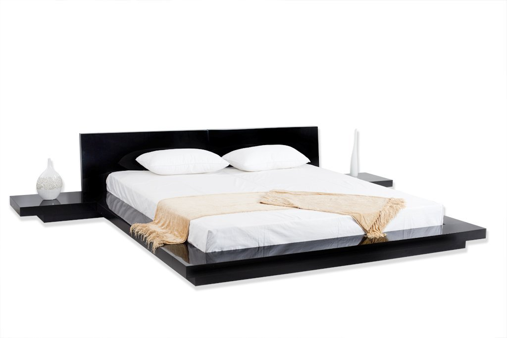 Good Modern Asian Style Platform Bed With Built In Nightstands Attached