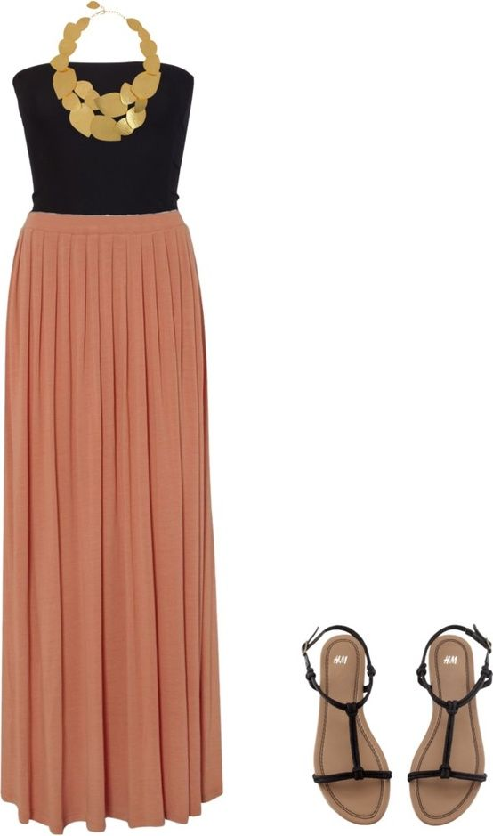 Light brown maxi dress with black blouse, sandals and golden necklace