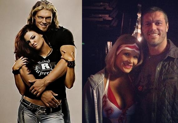 La super estrella Edge con lita su ex novia, edge con su esposa y ex luchadora beth phoenix la glamazona