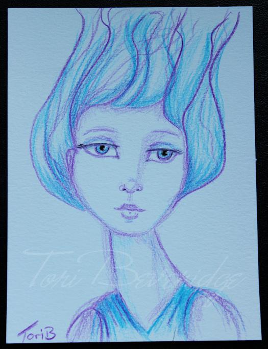 Photo of a pencil crayon sketch by Tori Beveridge