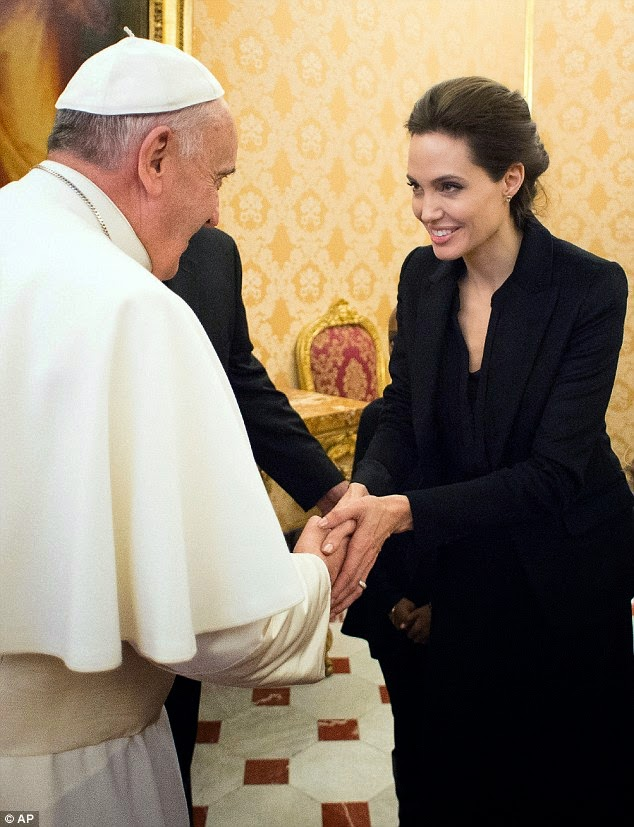 angelina jolie pope francis