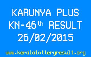 Karunya Plus KN 46 Lottery Result 26-2-2015
