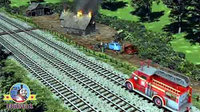 Sodor fire station Flynn the red train the Fat Controller burning wooden shed large crowd swarming