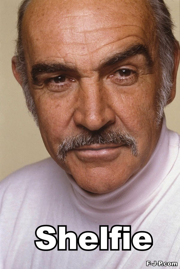 Funny Sean Connery Selfie Shelfie Joke Picture