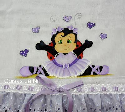 """fralda manta com joaninha lilás"""