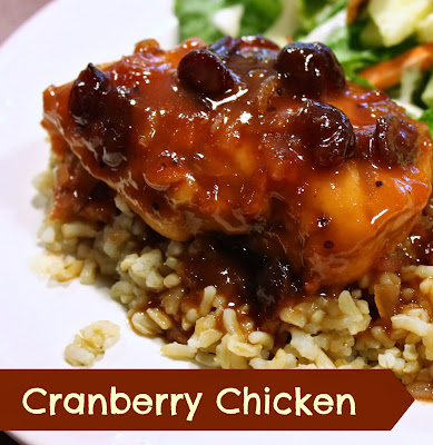 Cranberry Chicken is made from cranberry sauce, catalina dressing and onion soup mix.