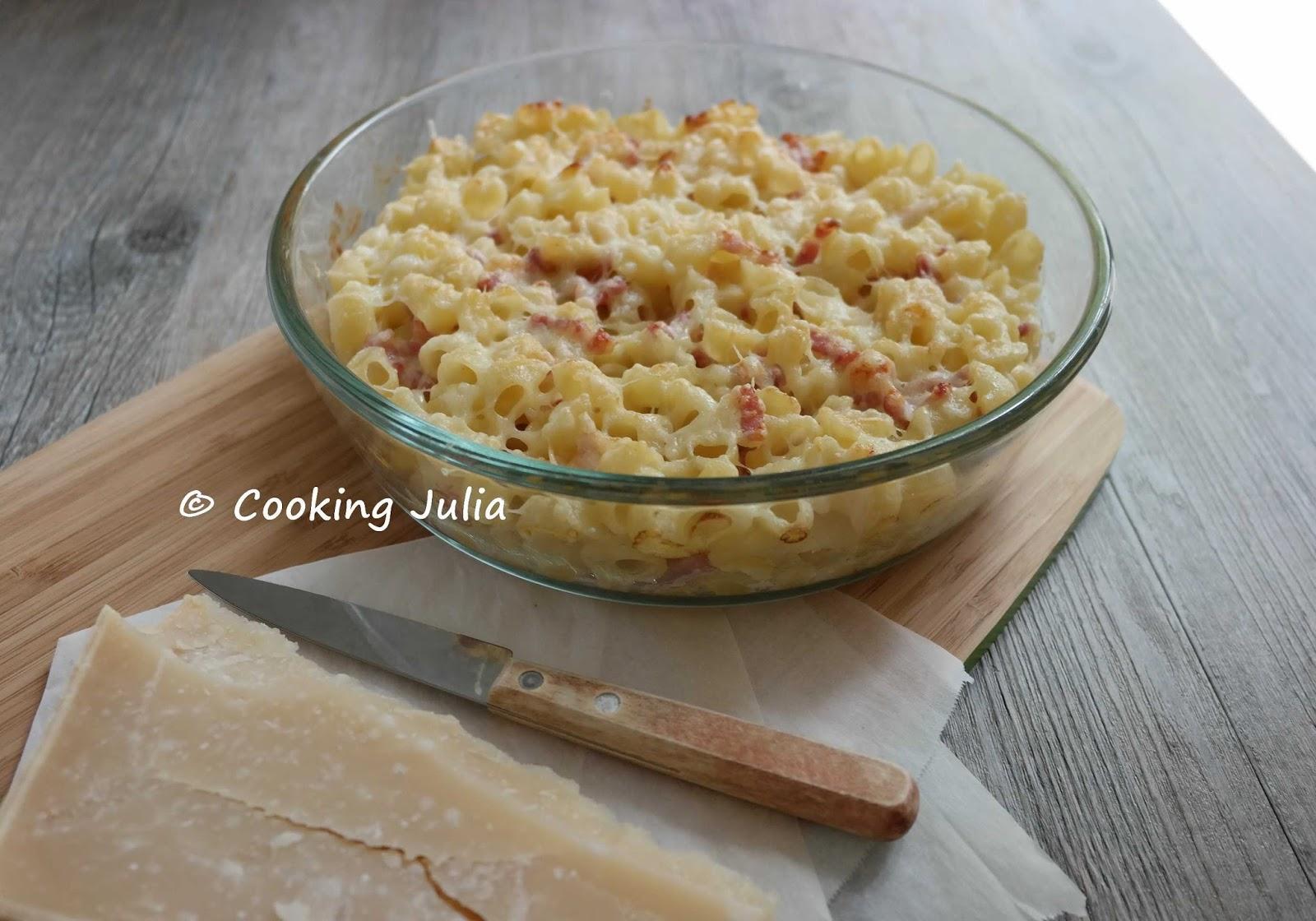 cooking gratin de p 194 tes 192 la cr 200 me de parmesan et lardons