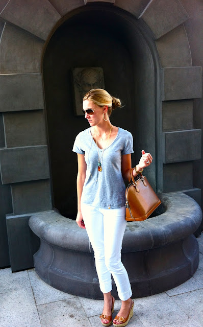 C&amp;C grey t-shirt, ag stevie white jean, lv epi leather bag, jessica simpson tan sandals, j. silver classic gold necklace, noonday collection gold necklace, anthropologie ag jeans, grey t-shirt, grey with brown accessories, beyond baroque dallas tx, beyond baroque necklace, nutcracker market, carly lee, c. style, c-style, wardrobe consultant, personal stylist, reinvent your closet 
