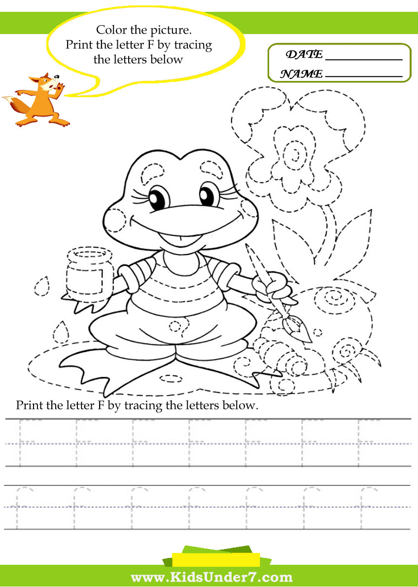 Kids Under 7: Alphabet worksheets.Trace and Print Letter F