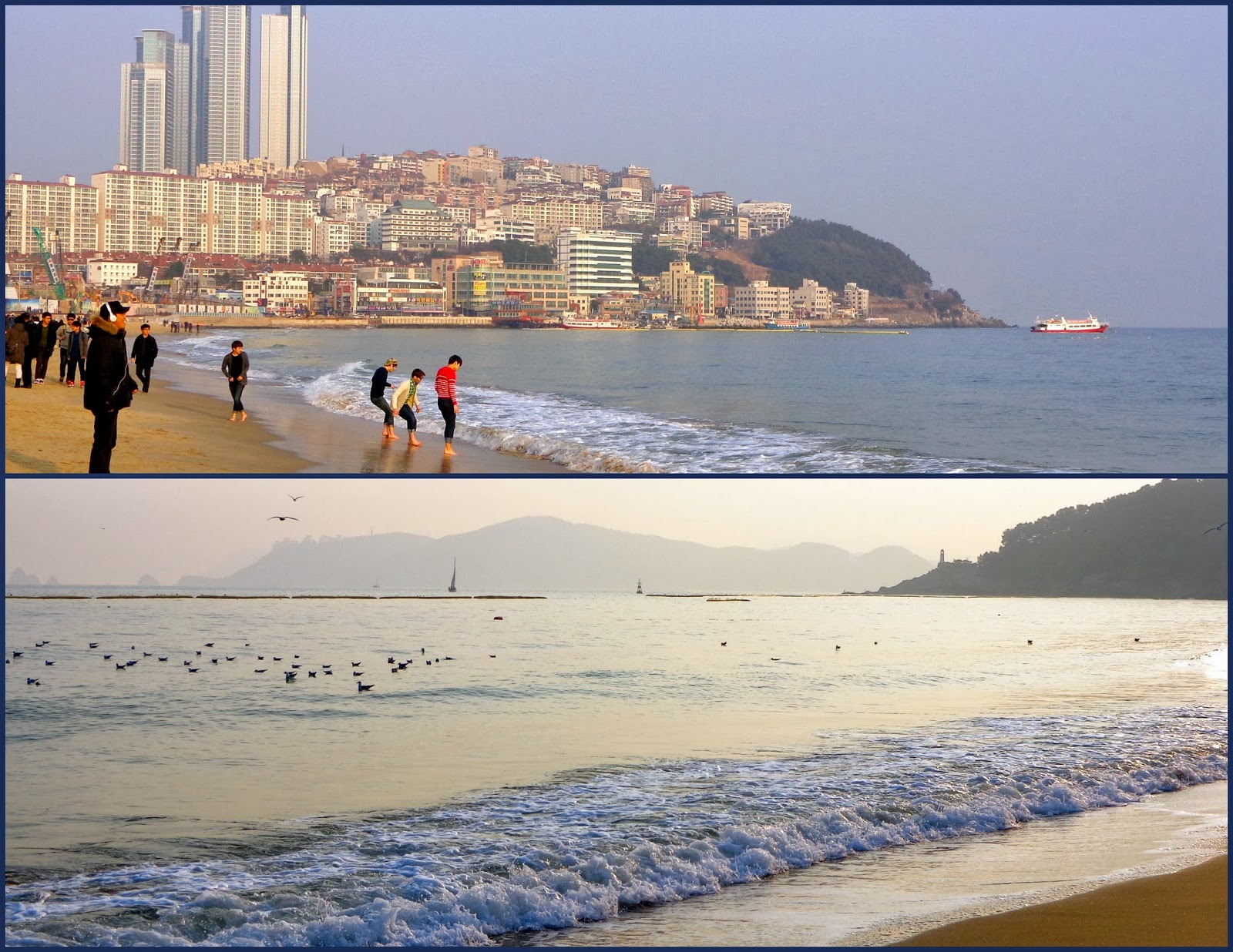 Busan's Haeundae beach in February
