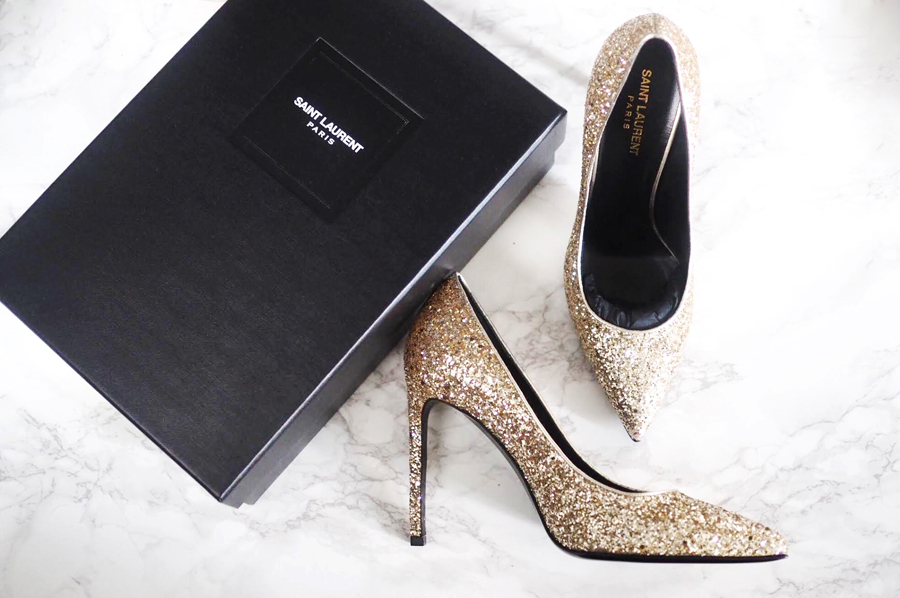 Saint Laurent Paris glitter pumps