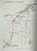Mapa de la línea del tranvía Madrid a Leganés. Abuelohara