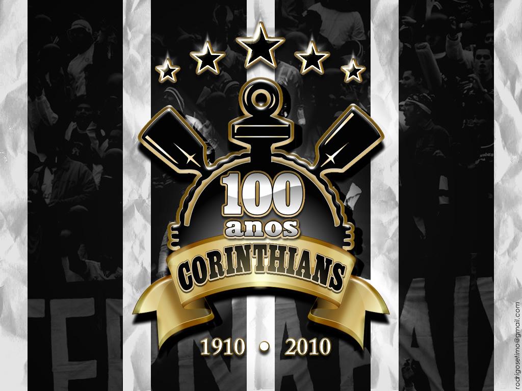 Papel de Parede Corinthians: Escudo e Estrelas Wallpaper