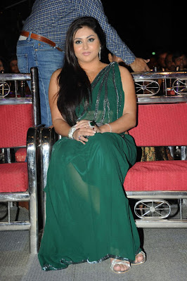 Namitha in a Green Saree with a Sleeveless Blouse and Open Hair Fashion