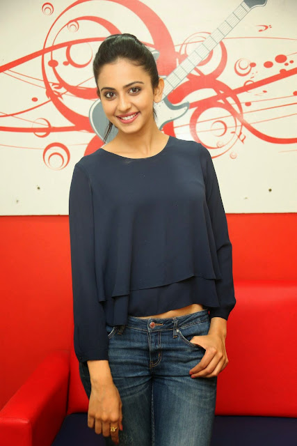 Actress Rakul Preet Singh Pictures in Jeans Gallery at Big FM 12.JPG
