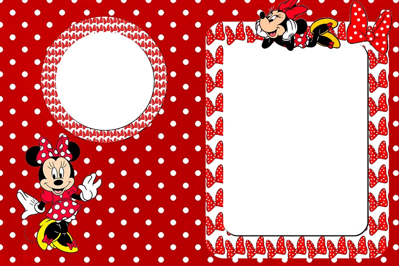 Moldura Convite Minnie Vermelha