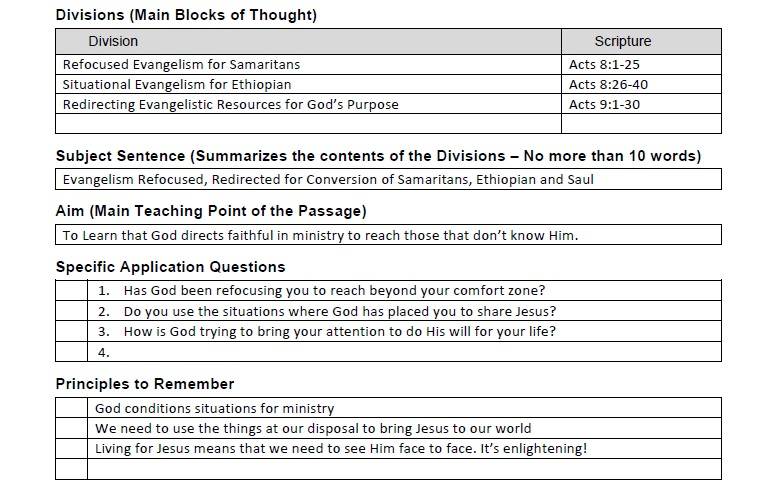 Worksheet Homiletics Worksheet homiletics 101 acts 8 930 lesson 4 chucks for this week