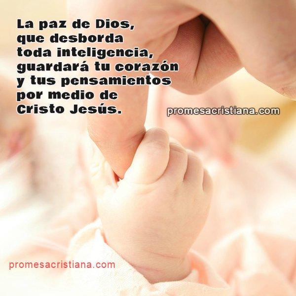 Frases de paz de Dios, promesa cristiana de paz, mensaje cristiano corto, reflexión cristiana con imagen y versículo bíblico, citas de paz.