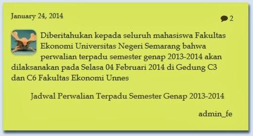 Jadwal Perwalian Terpadu Semester Genap 2013-2014 Jurusan Pendidikan Ekonomi FE Unnes