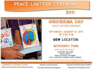 Hiroshima Day Kingston Peace Lantern Ceremony poster