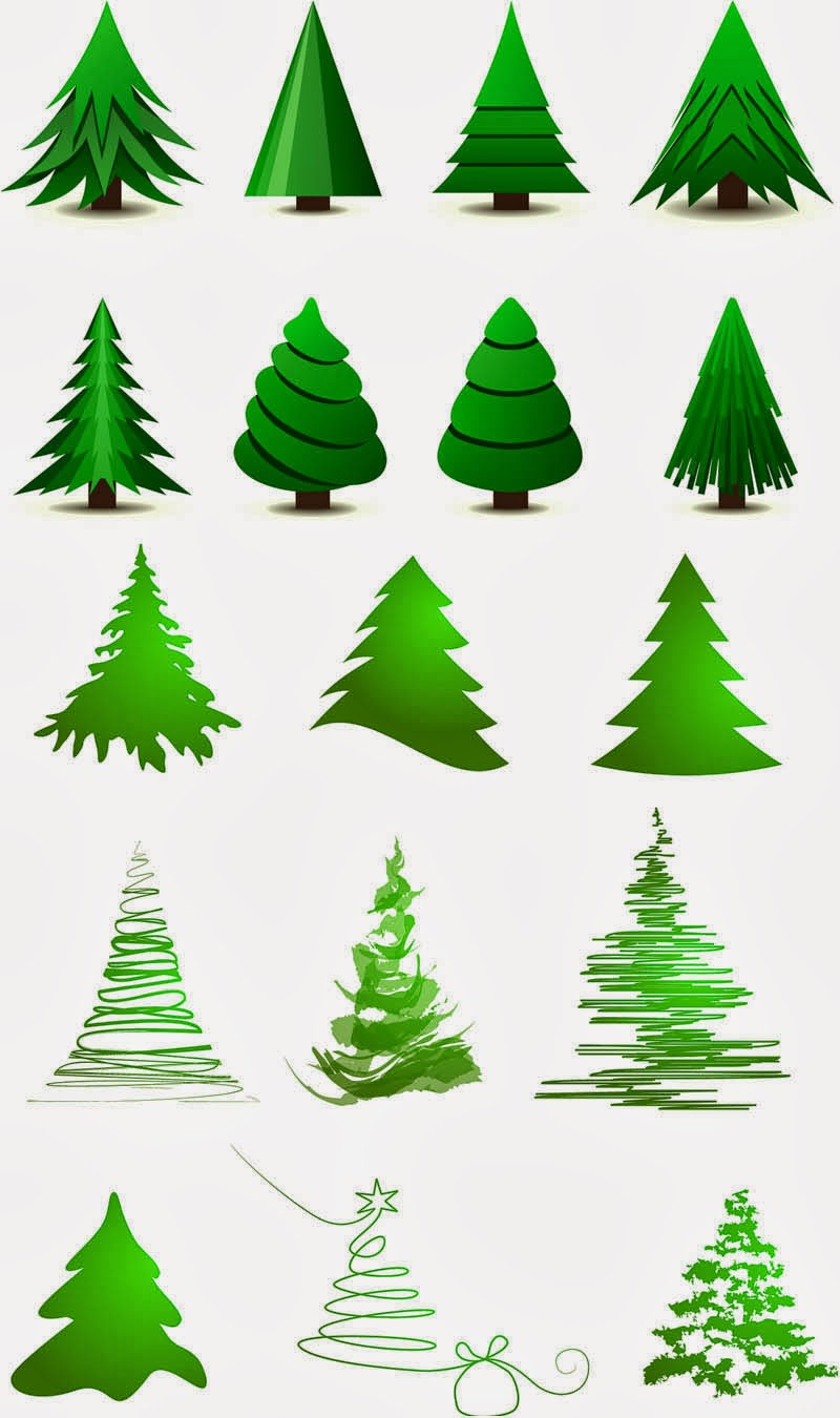 2 Sets of 28 vector Christmas tree logotypes in cartoon style with ...