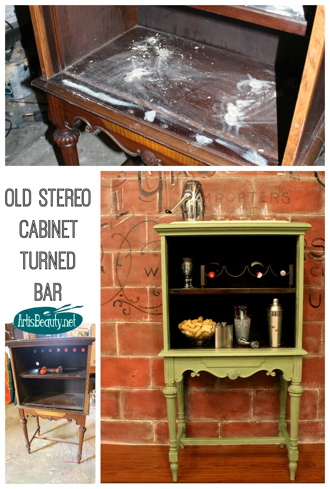 pin repurposed buffet room stereo vintage diy ideas cabinet green old