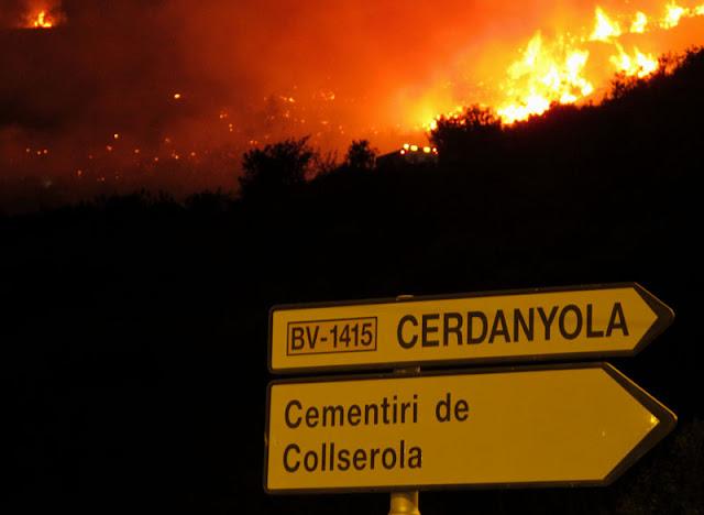 Incendio en Collserola la noche de San Juan