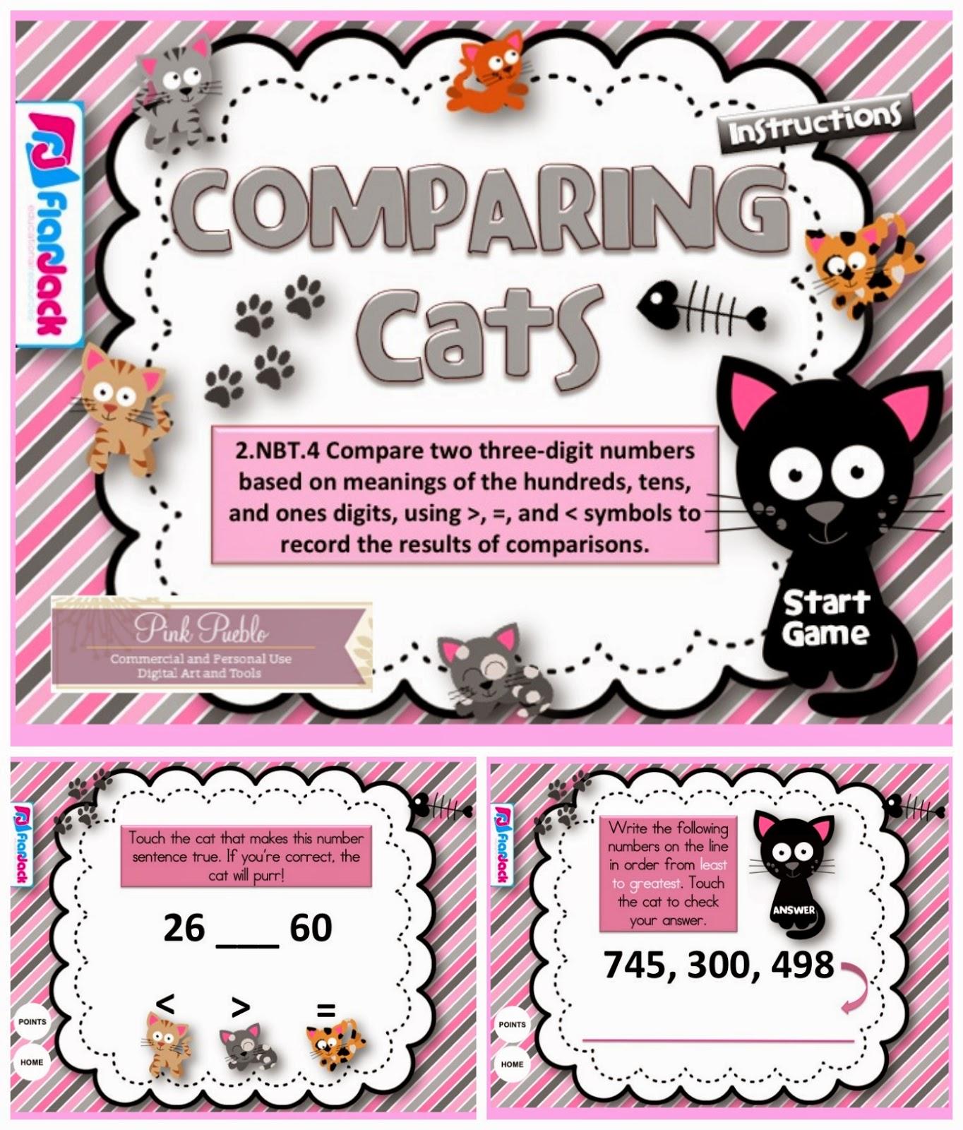 http://www.teacherspayteachers.com/Product/Comparing-Cats-Smart-Board-Game-CCSS2NBT4-1232724