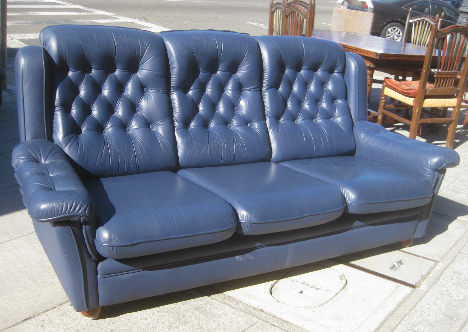 Uhuru furniture collectibles sold blue leather sofa for Blue leather sofa