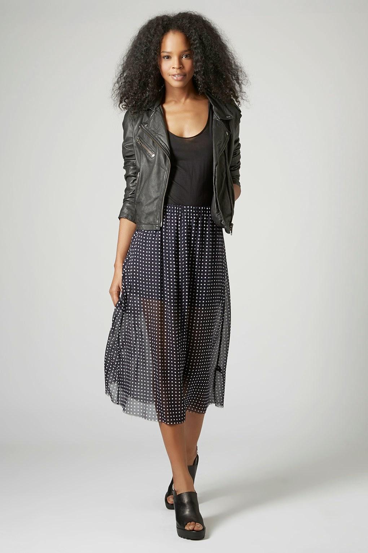 spotty silk skirt