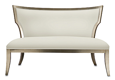 upholstered settee with selected finishes