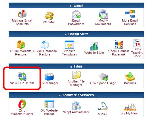 Посмотреть в детали FTP доступа в панели управления CPanel хостинга 000webhost.com