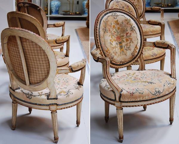 sillas luis XVI -patas rectas acanaladas -anchas- respaldo oval
