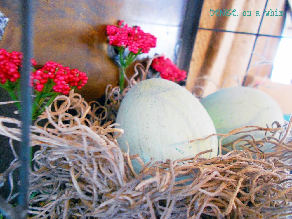 Painted Paper Mache Eggs in a Nest of Spanish Moss via http:///deniseonawhim.blogspot.com