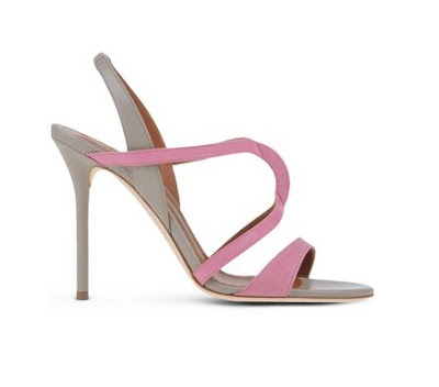Malone Souliers pink and gray high heeled stiletto sandals