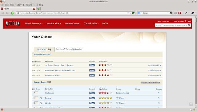 Netflix Screen Capture Showing Unsortability