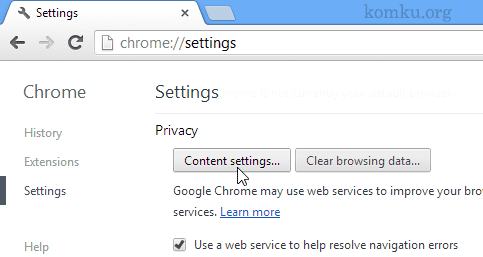 chrome - content settings
