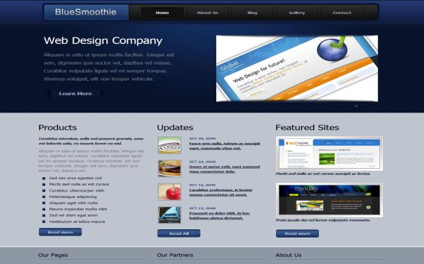 Free Smooth Blue Business CSS Website Template