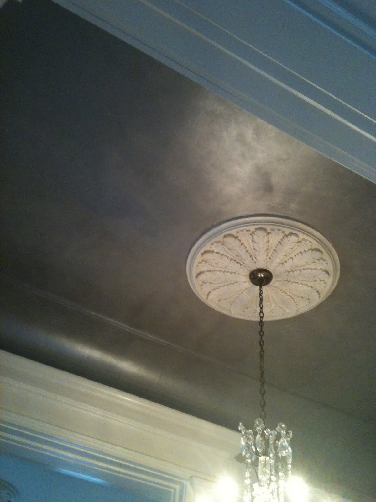inspired paint repeat in progress silver ceiling