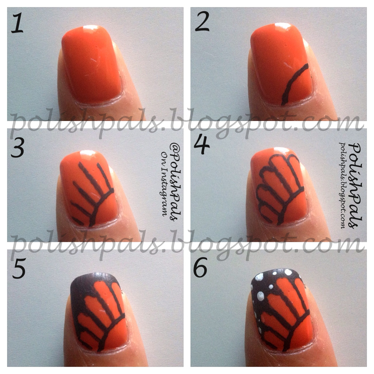 Butterfly Nail Designs Step By Step: Polish Pals: Monarch Wing Nails