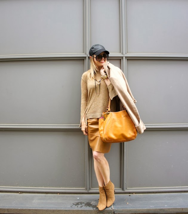 camel outfit, leather baseball cap