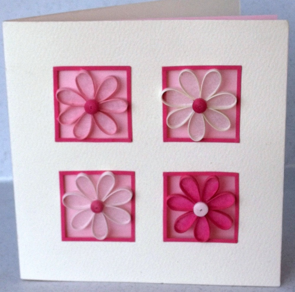 Paper daisy cards quilled birthday card for Paper quilling paper