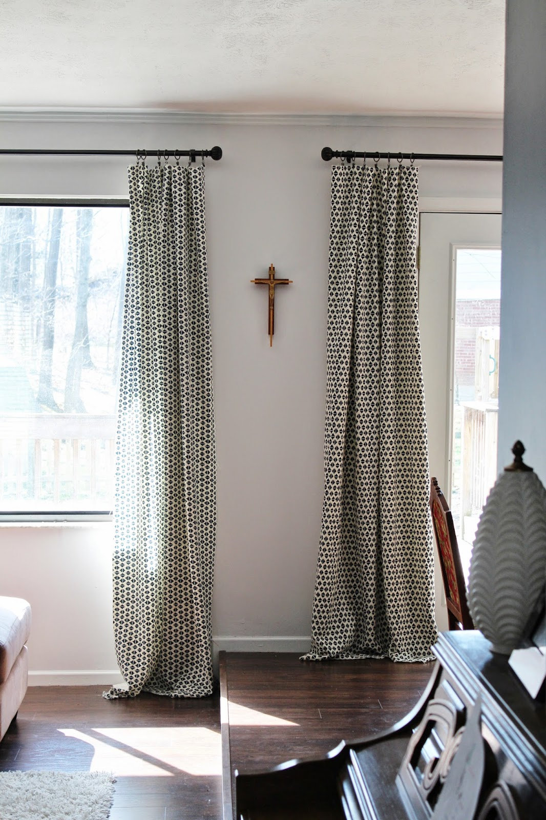 Such a simple way to keep your curtains from sliding all over the bar