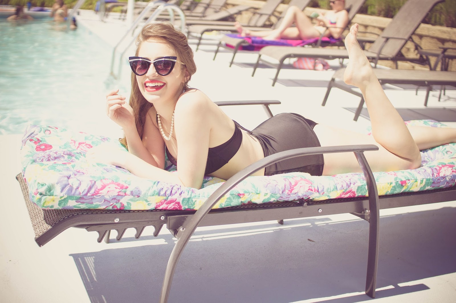 retro, style, fashion blogger, high waist bathing suit, vintage, retro bathing suit, vintage bathing suit, taylor swift style, glamorous, old hollywood, 1950s style, 1960's stye, fashion blogger, film blogger, cat eye sunglasses, asos,