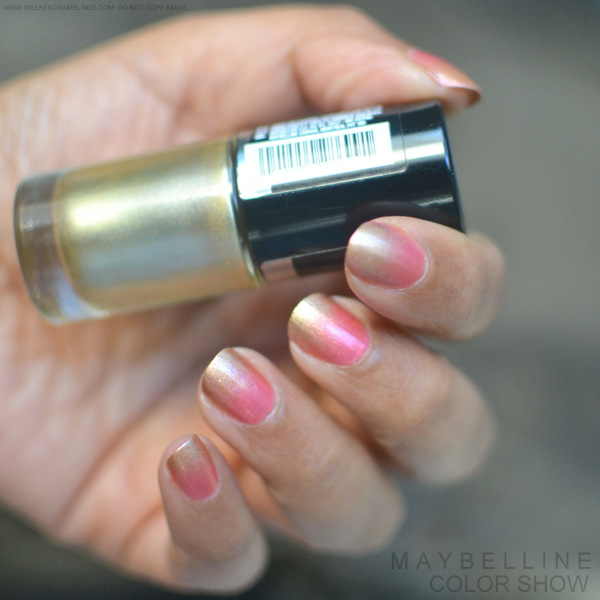 Sponge-Gradient Nail Art Tutorial Easy Maybelline India Color Show Nail Polish Bold Gold Chrome Pink Makeup Beauty Blog