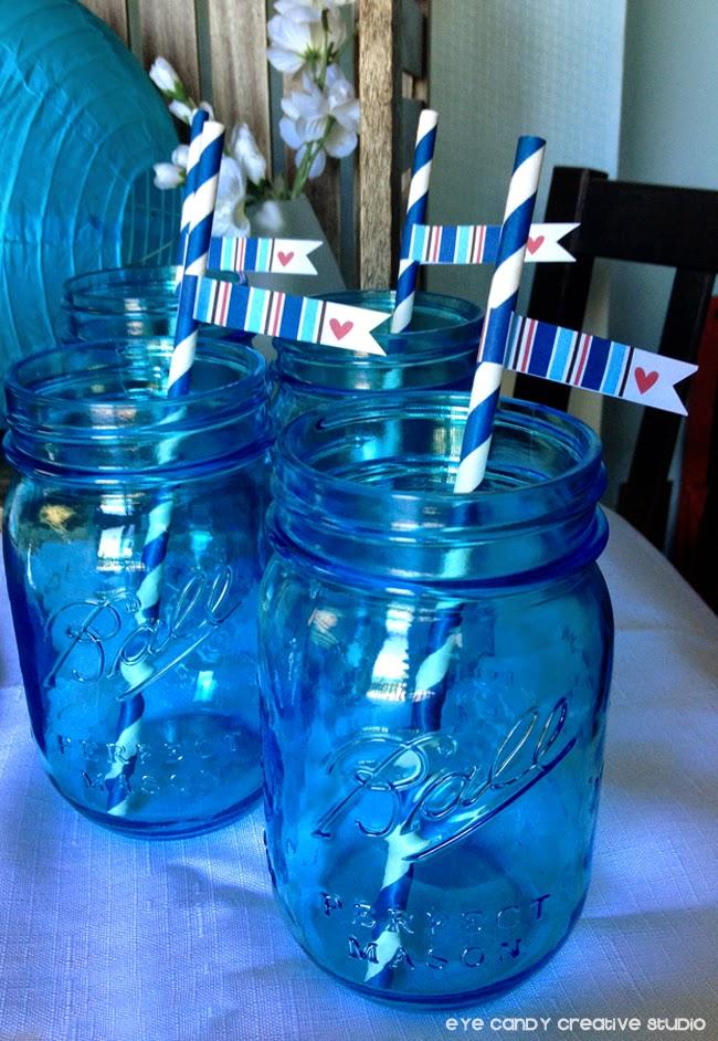mason jars, blue mason jars, free drink flags, Ball mason jars, stripes