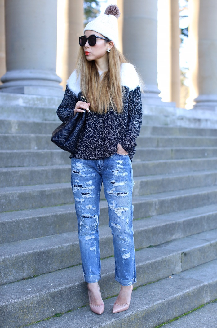 Two by vince camuto Marled Pullover Sweater, nordstrom half yearly sale, jcrew pom pom beanie, distressed boyfriend jeans, christian louboutin so kate heels, chanel earrings, karen walker super duper sunglasses, san francisco street style, Tory Burch Marion Diamond quilted leather tote, fashion blog