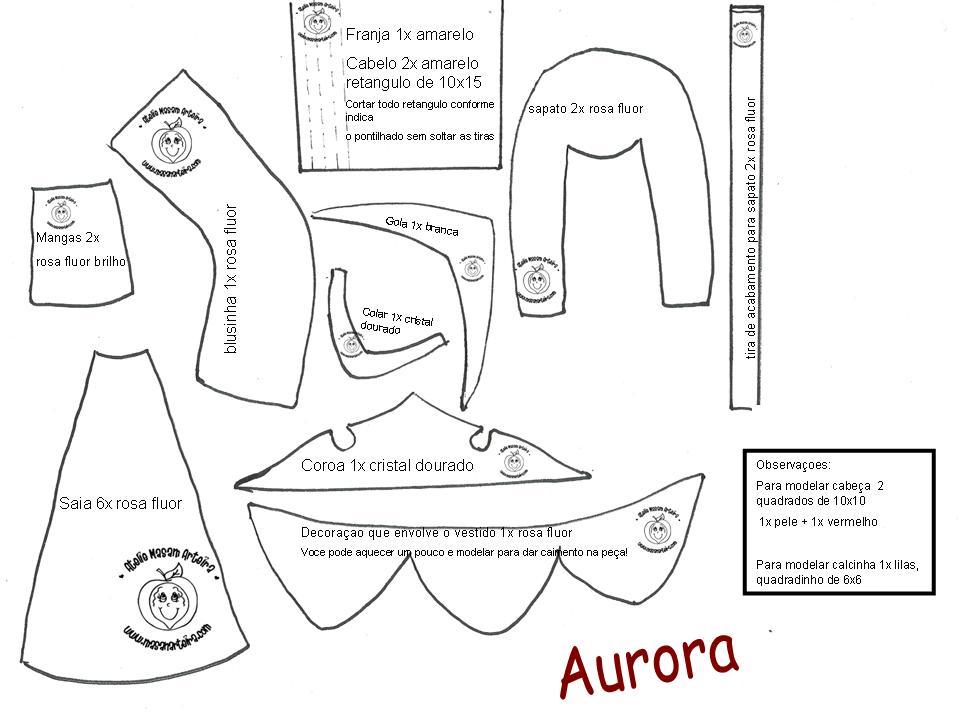 ... em eva 3d e molde da ponteira para lápis princesa Aurora eva 3d