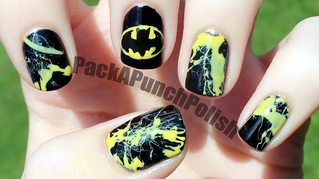 Batman Nail Art by PackAPunchPolish