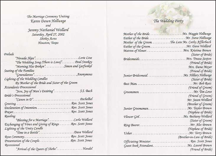 Wedding Collection Nowadays Wedding Program Wording